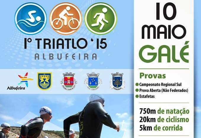 Cartaz 1º Triatlo Albufeira divulgação on line